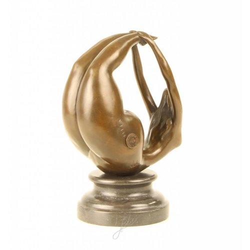 Bronzen beeld Dikke vrouw Gym 1