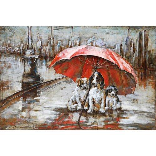 Schilderij metaal 3d Hondenweer 80x120cm