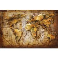 Schilderij 3d metaal 80x120cm Globe 6