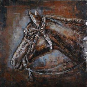 Eliassen Schilderij 3D ijzer 80x80cm Paardenhoofd