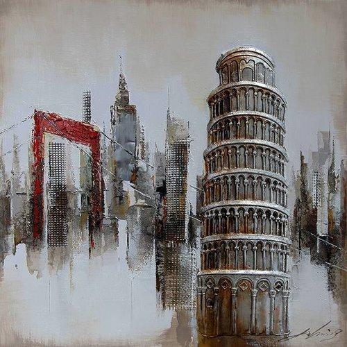 Eliassen 3D schilderij canvas 80x80cm Pisa