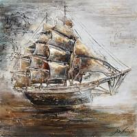 3D schilderij canvas 80x80cm Zeilboot