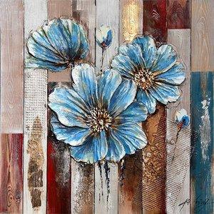 Eliassen 3d schilderij hout 82x82cm Bloem blauw