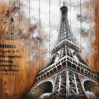 Schilderij hout 3d 91x91cm Eiffel1