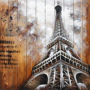 Eliassen Schilderij hout 3d 91x91cm Eiffel1