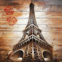 Schilderij hout 3d 91x91cm Eiffel
