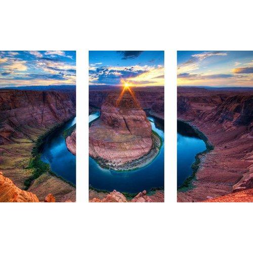 Eliassen 3 luik glasschilderij 120x80cm Vulkaan