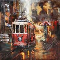 Metalen 3d schilderij Tram3 60x60cm