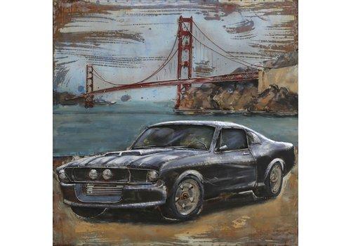 Metalen 3d schilderij Mustang2 100x100cm
