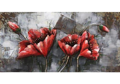 Metalen 3d schilderij Rode Bloem1 120x60cm