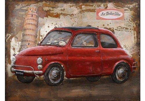 Metaal schilderij Fiat 500 60x80cm