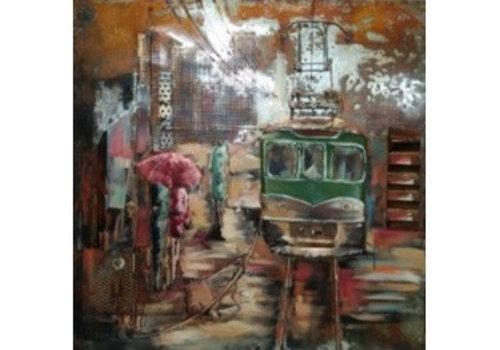Metaal schilderij Chaos 100x100cm