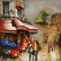 Metaal schilderij Flowershop 80x80cm