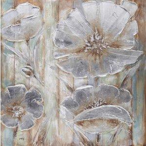Eliassen Olie op houtschilderij Flowers 7 100x100cm