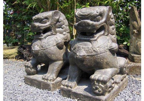 Stenen beelden Leeuwen set chinese tempelwachters in 3 maten