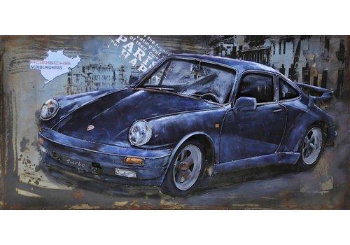 3D Schilderij metaal Porsche 60x120cm