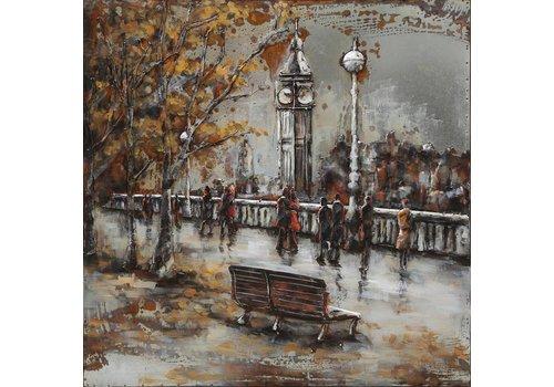 3-D schilderij Stadsbrug 100x100cm