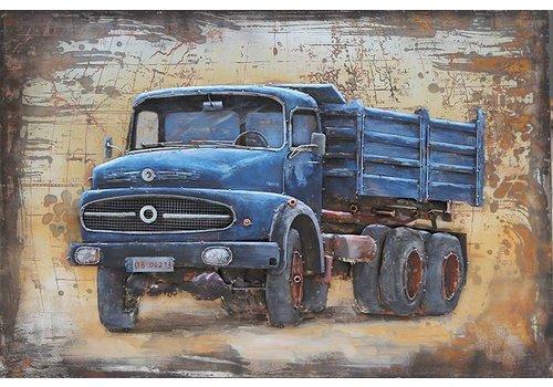 Metalen 3d schilderij 120x80cm Mercedes vrachtauto