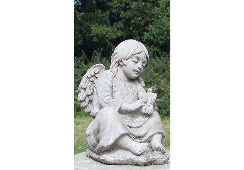 Tuinbeeld engel met vogel