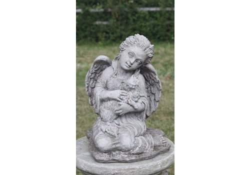 Tuinbeeld engel met kat