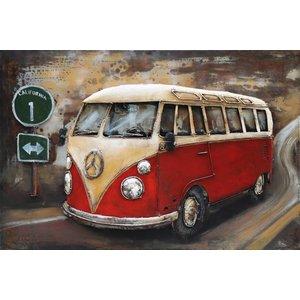 Eliassen 3D schilderij metaal 120x80cm VW bus rood met verkeers bord