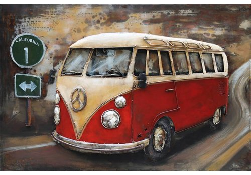 3D schilderij metaal 120x80cm VW bus rood met verkeers bord