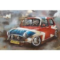 3D schilderij metaal 120x80cm Mini Cooper