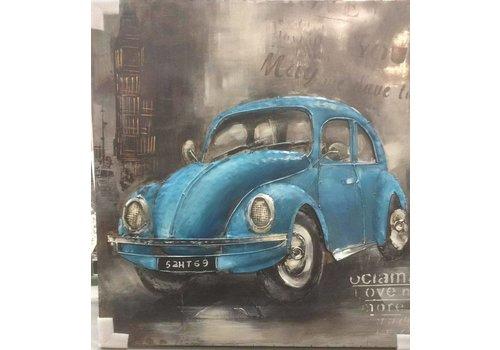 Metalen 3D schilderij 100x100cm VW Kever