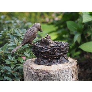 Eliassen Beeld brons staand vogelnestje bruin