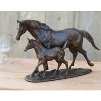 Beeld brons paard en veulen