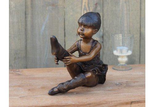 Beeld brons zittende ballerina