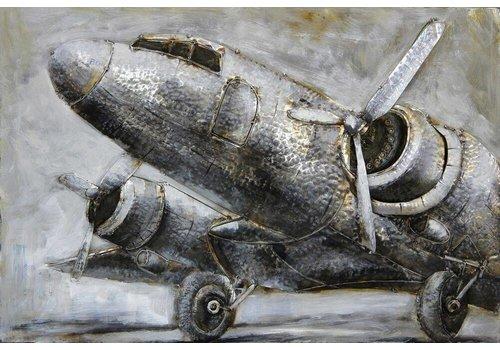3D schilderij metaal 120x80x7cm Airplane