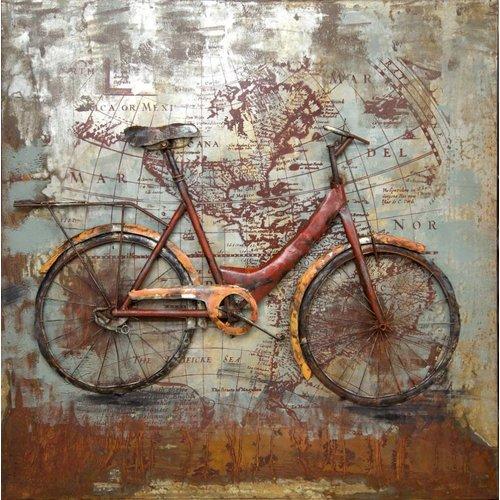 Eliassen 3D schilderij metaal 100x100cm Biking The World