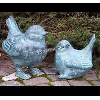 Beelden brons paar vogels 18 en 25cm