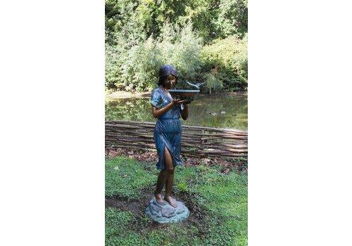 Waterornament brons meisje met waterschaal