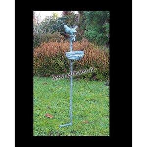 Eliassen Tuinsteker brons met vogelvoederbakje