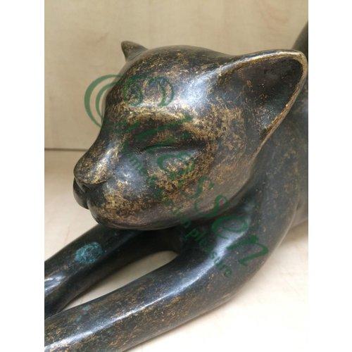 Eliassen Beeld brons kat met gestrekte voorpoten