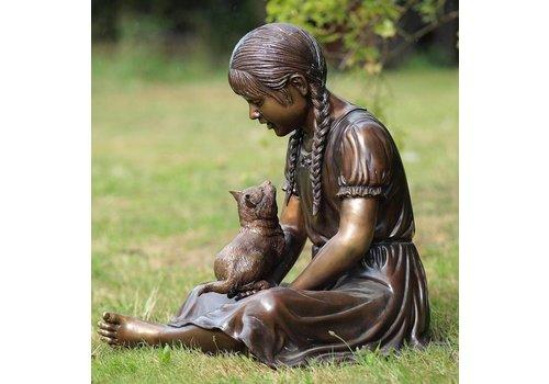 Beeld brons meisje met poes