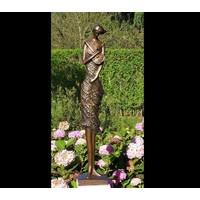 Beeld brons vrouw met viool