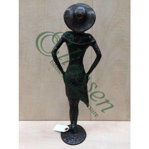 Eliassen Beeld brons vrouw met hoed modern