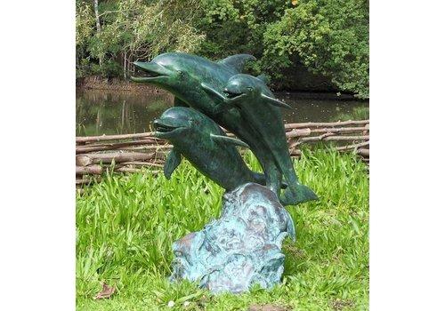 Spuitfiguur brons 3 dolfijnen