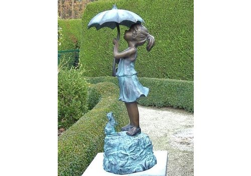 Beeld brons meisje onder paraplu