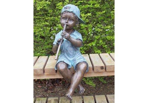 Beeld brons jongen met fluit