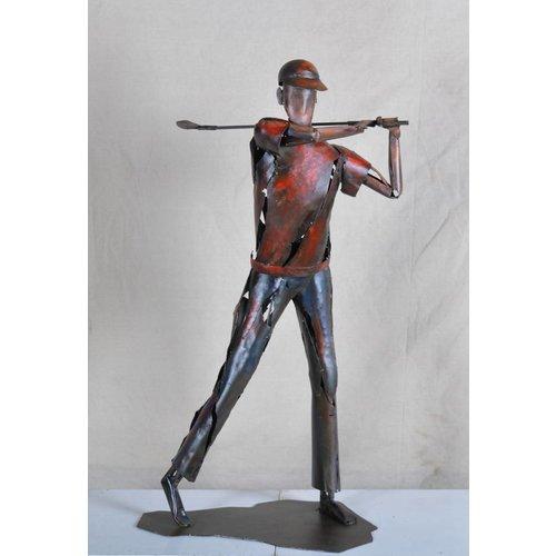 Metalen beeld Golfer 4
