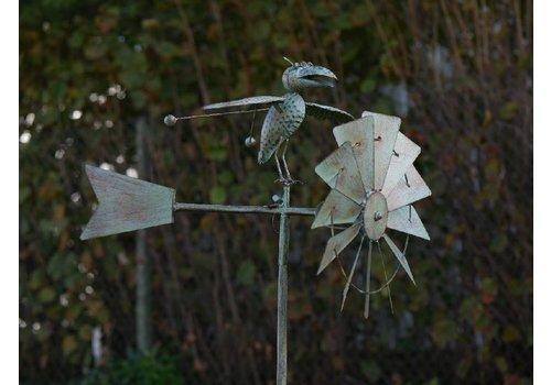 Windmolen tuinsteker met vogel