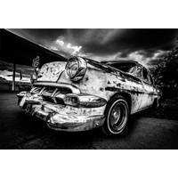 Glasschilderij 80x120 Car zwart/wit