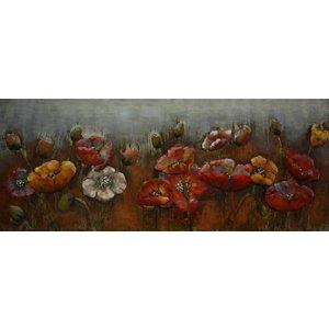 Eliassen 3D schilderij metaal rode bloemen 60x150cm
