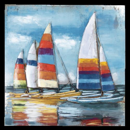 Eliassen 3D schilderij 100x100cm  Zeilboten 1