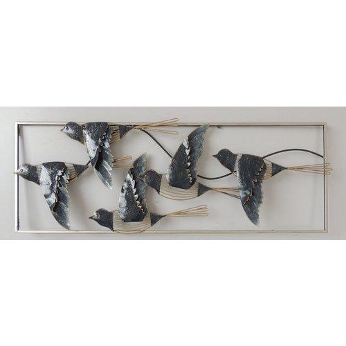 Wand decoratie metaal 3d  Birds