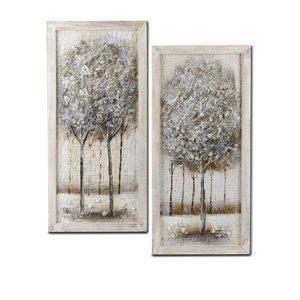 Olieverf schilderijen set Tweeluik Bomen